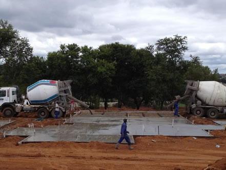 Concrete raft foundation